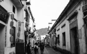 宏村风景黑白照片
