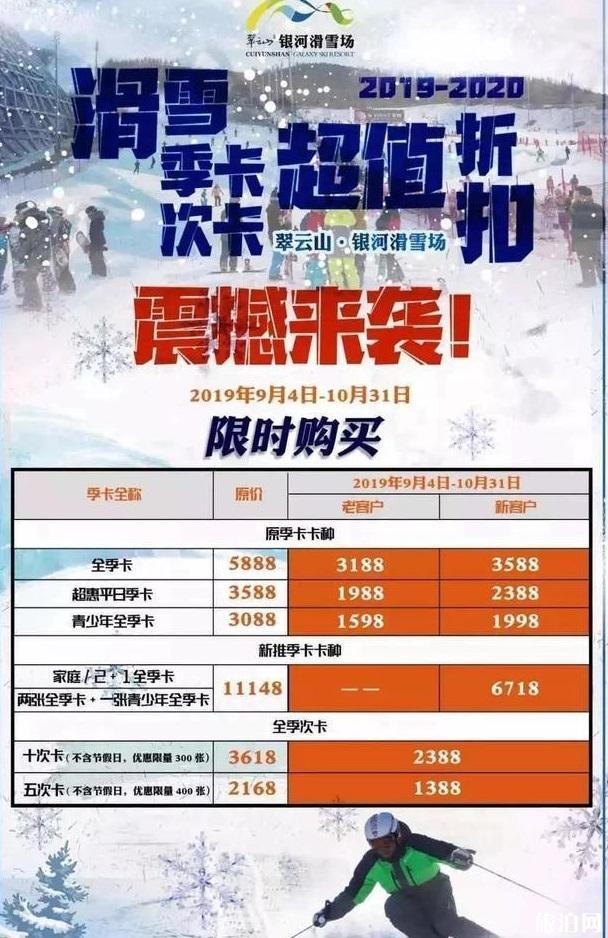 崇礼银河滑雪场11月14日开业 附年卡办理信息