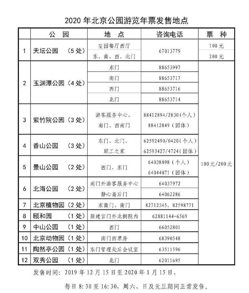 北京五日自助游攻略_2020北京市公园年票联合卡12月15日开始发售 附充值时间+发售地点 ...