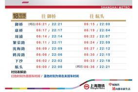上海地鐵18號線一期什么時候開通 上海地鐵10號線二期18號線一期試運營時間